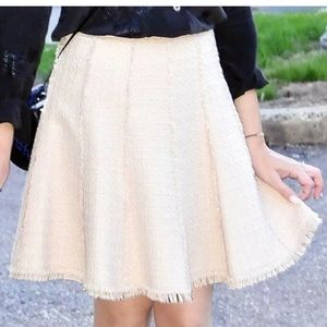 Rebecca Taylor Tweed Fringed Detail Godet Skirt